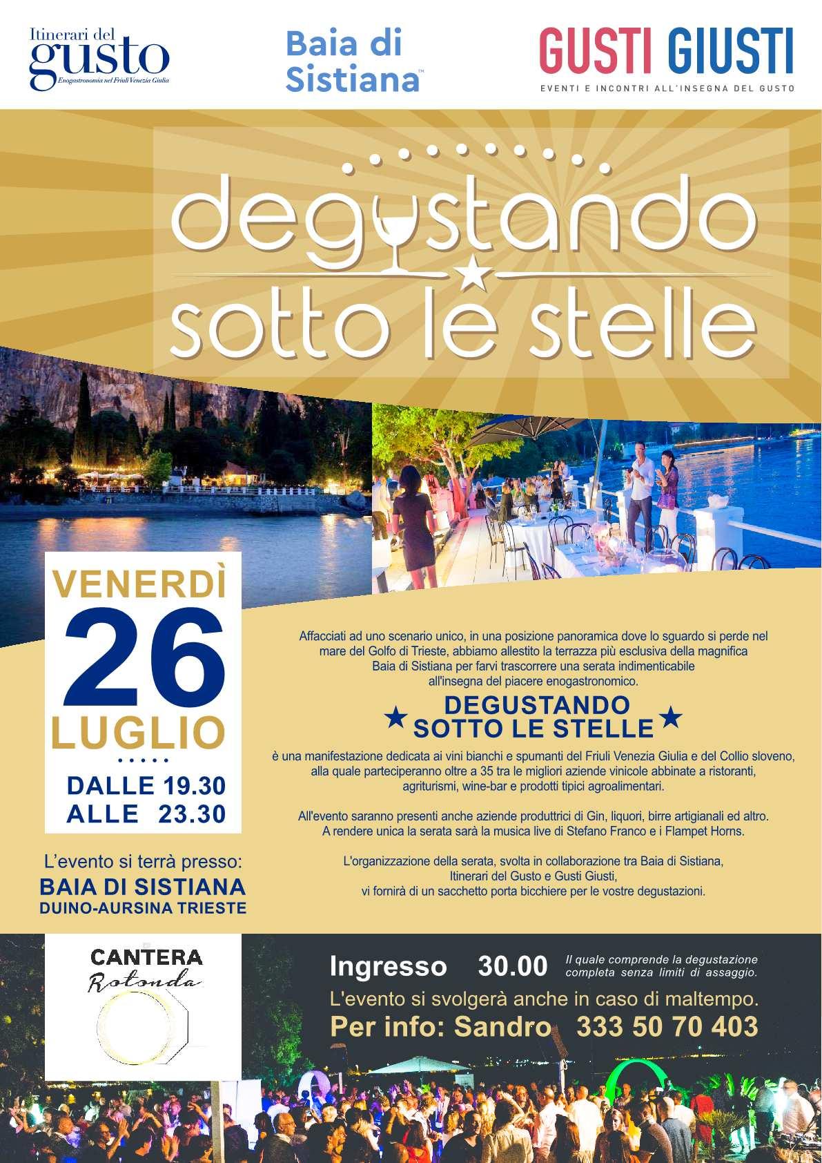 Degustando Sotto Le Stelle 2019 - Venerdì 26 Luglio a Sistiana